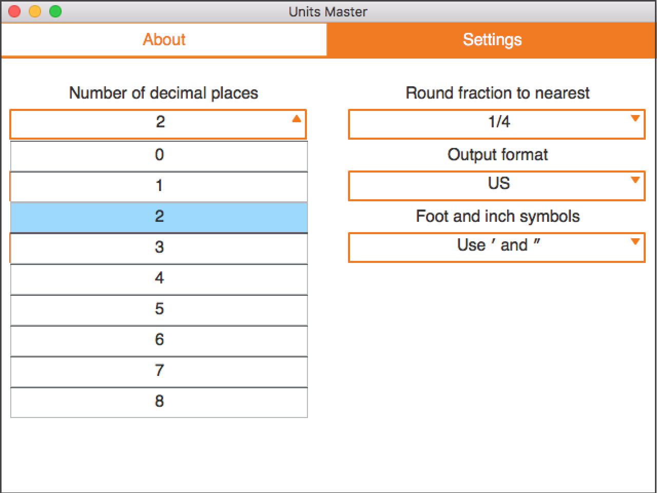 Rounding settings for decimals