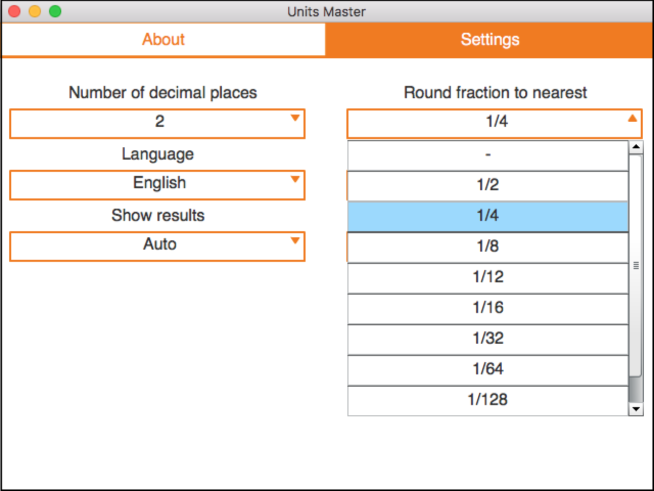 Rounding settings for fractions